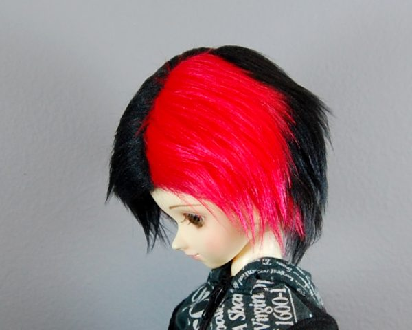 7/8 Black and Red Wig