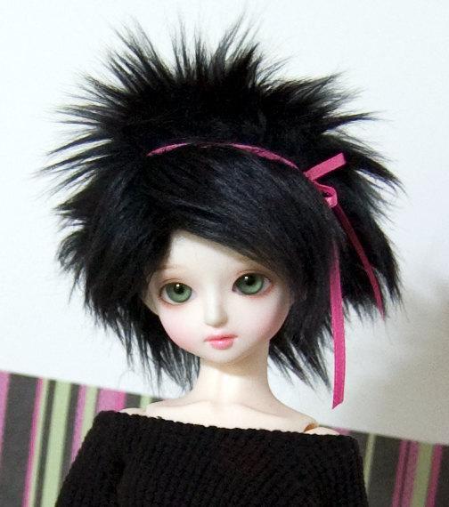 7/8 Black Wig