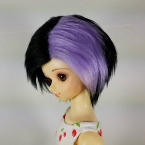 7/8 Black and Purple Wig