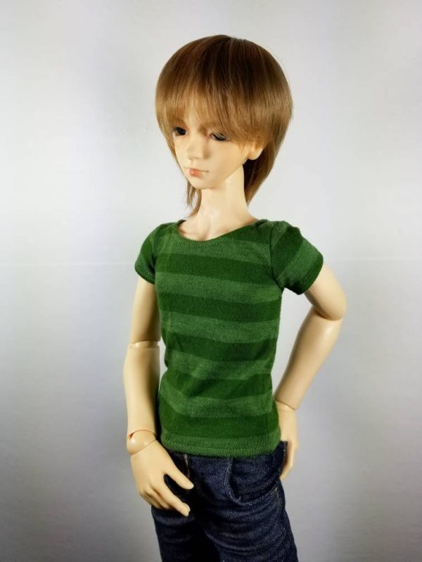 SD13 Boy Green Striped Shirt