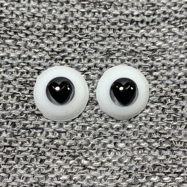 12mm Grey Iris with Black Heart Pupils