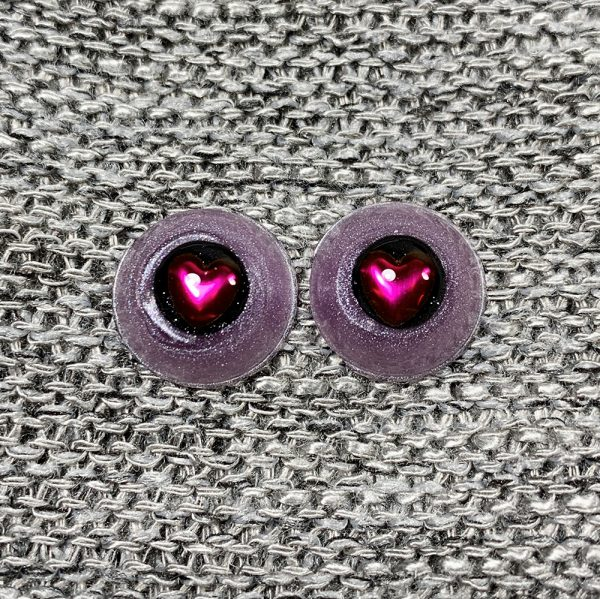 12mm Purple Sclera with Black Iris and Pink Heart Pupils