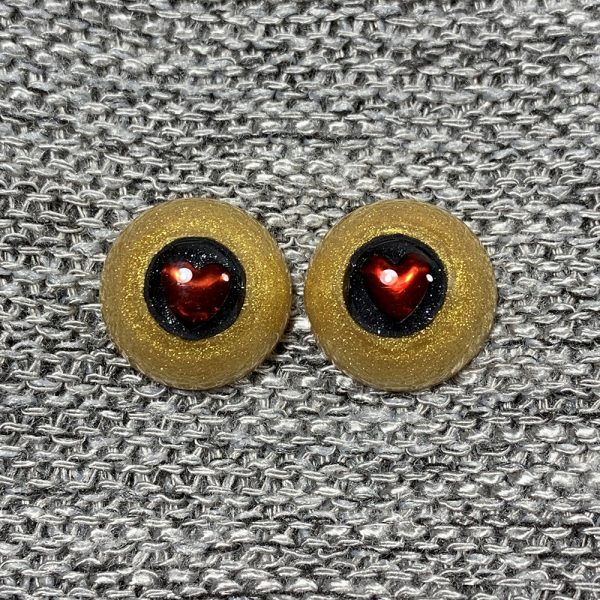 14mm Gold and Black with Red Heart Pupils